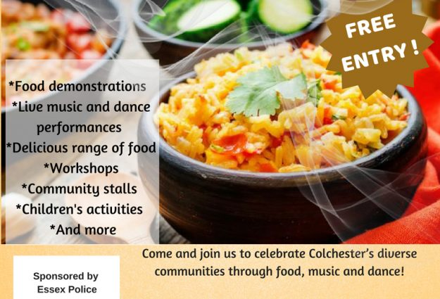 A flyer for Colchester Festival of Rice & Spice, with images of delicious food
