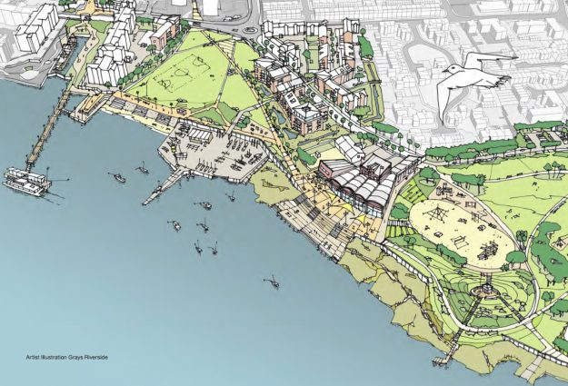Image courtesy of Thurrock Council, vision of the future of Grays River front