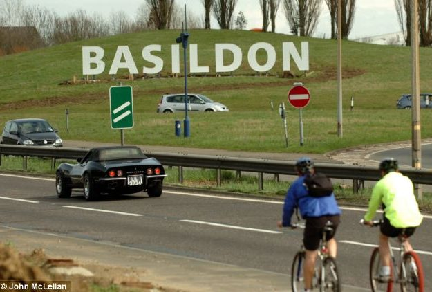 The Basildon sign welcomes drivers into the town